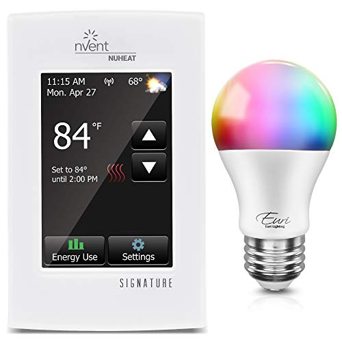 Nuheat SIGNATURE Programmable Dual-Voltage Thermostat with WiFi and Touchscreen Interface with Optional Euri WiFi Smart Bulb (NuHeat Signature Thermostat with WiFi Smart Bulb)