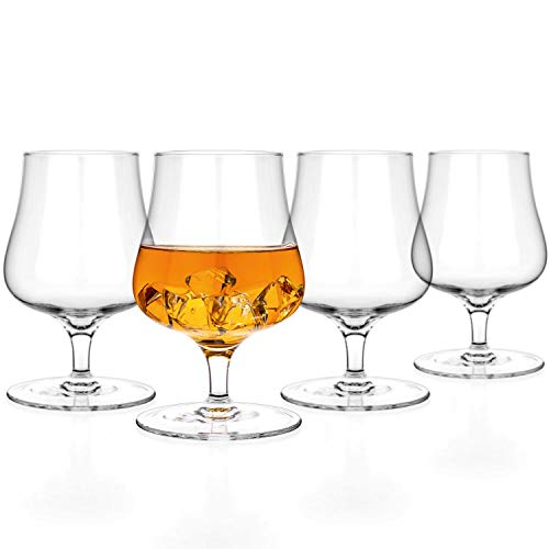 Luxbe - Brandy Whiskey Crystal Glasses Snifter, Set of 4 - Handcrafted - Lead-Free Crystal Glass - For Cognac Bourbon Spirits Drinks - 9.5-ounce