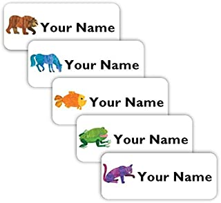 Brown Bear Theme Original Personalized Peel and Stick Waterproof Custom Name Tag Labels for Adults, Kids, Toddlers, and Babies – Use for Office, School, or Daycare
