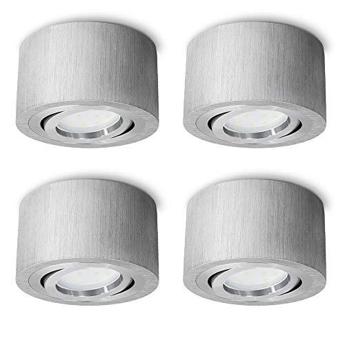 SSC-LUXon - Juego de 4 focos LED (planos, orientables, redondos, de aluminio cepillado, con LED de 5 W, blanco neutro, 230 V, diámetro de 90 mm)