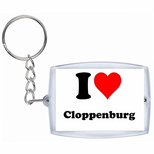 Druckerlebnis24 Schlüsselanhänger I Love Cloppenburg in Weiss - Exclusiver Geschenktipp zu Weihnachten Jahrestag Geburtstag Lieblingsmensch