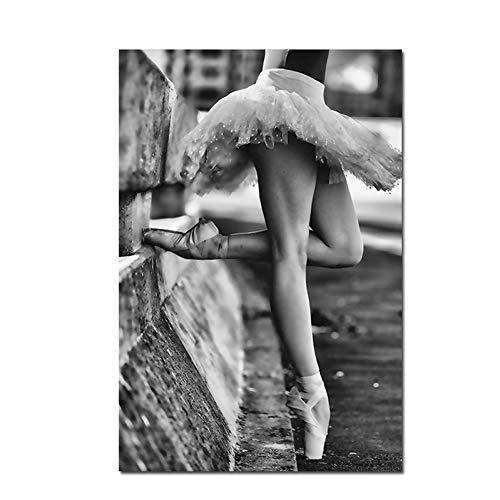 ZWBBO Dekorative Malerei Schwarz und Weiß Menschen Leinwand Poster Ballett Tänzer Drucke Schöne Bein Wandbild Malerei Kunst Klassenzimmer Wohnzimmer-50x70cm
