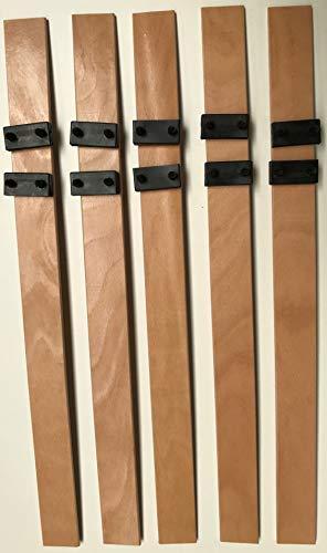 SCM Créations Lot de 5 560/53/8 56 cm avec 10 Embouts pour clic clac bz sommier Cadre a Lattes, Bois, 56 x 5,3 cm