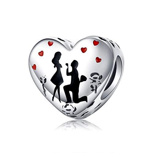 Ciondolo in argento Sterling 925 smaltato a forma di cuore, compatibile con braccialetti Pandora, collana e gioielli per la festa della mamma