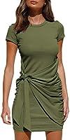 LILLUSORY Women's Summer T Shirt Dress Casual Short Sleeve 2021 Crewneck Bodycon Ruched Tie Waist Mini Dresses
