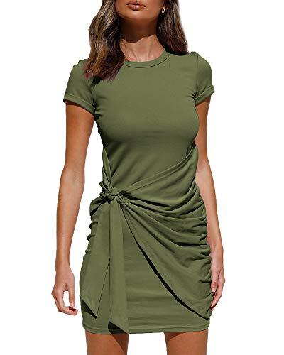 LILLUSORY Women's Summer T Shirt Dress Casual Short Sleeve 2021 Crewneck Bodycon Ruched Tie Waist Mini Dresses Army Green