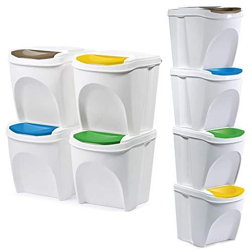 ORION GROUP Mülleimer Abfalleimer Mülltrennsysteme Müllbehälter mit Deckel für die Küche geruchsdichter set 4 Stück