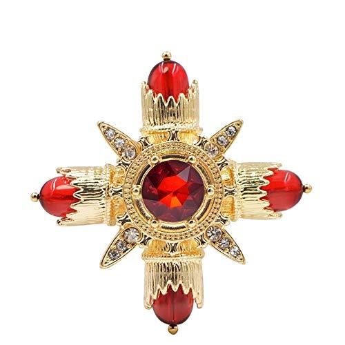 PicZhiwenture Brosche New Cross Design Rote Farbe für Frauen Barock Mantel Zubehör Hochzeit Brosche Hochwertige Geschenk