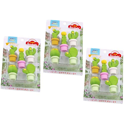 NUOBESTY 15 gomas de borrar con forma de plantas y de goma, para artículos de papelería, recompensas para niños, regalo...