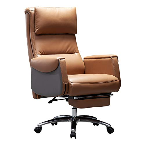 ALVEN Comfortable Leather Boss Chair, Ergonomic Multifunctional Swivel Chair/Adjustable Modern Mid-century Office Chair Suitable for Home and Office