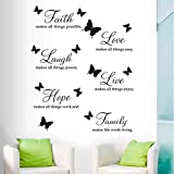Faith Hope Family Laugh Love Live Wall Decal Vinyl Stickers, Removable Butterfly Art DIY Quote Sticker Mural for Bedroom Living Room Home Window Door Decoration