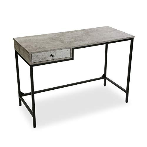 Mimma Mesa de Escritorio para Ordenador Despacho Jack con cajón, Madera, Gris y Negro, 76 x 48 x 110 cm