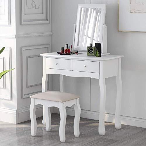 ModernLuxe Weiß Schminktisch mit Spiegel und Hocker (Kunstleder), Frisiertisch Set Schreibtisch mit 2 Schubladen und abnehmbar Spiegelaufsatz, Kosmetiktisch Set für Damen Mädchen