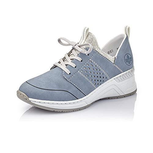 Rieker Damen Schnürhalbschuhe N4373, Frauen sportlicher Schnürer, Halbschuh schnürschuh Sneaker,Jeans/Fog-Silver/silverflower / 14,42 EU / 8 UK