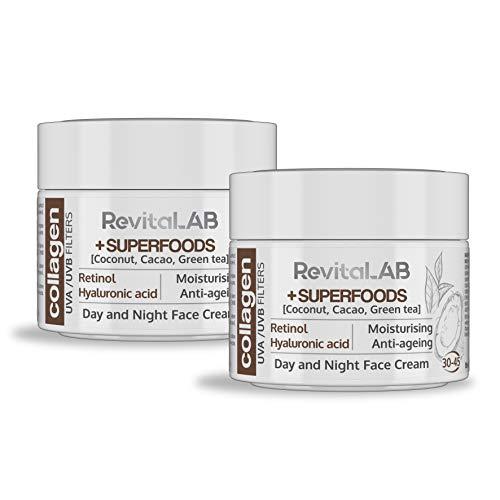 RevitaLAB - Crema hidratante antiarrugas de día y de noche con colágeno enriquecida con ácido hialurónico, superalimentos, vitaminas y un filtro UVA/UVB, franja de edad 30-45, 2x 50 ml