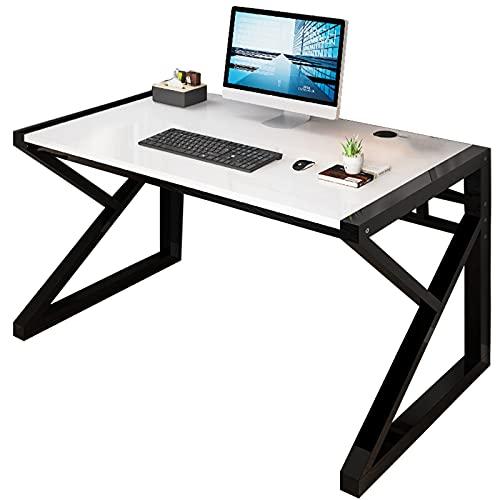 HBCELY Escritorio de computadora Escritorio del Estudio del Estudiante Mesa de Trabajo para computadora portátil con PC para Juegos para la Sala de Estar de la Oficina en casa Blanco 47 Pulgadas