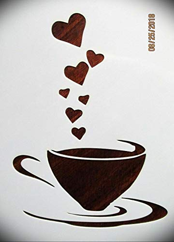 Coffee Lover's Coffee Love Logo Stencil Template Reusable 10 mm Mylar Logo Arts and Crafts Material Scrapbooking for Airbrush Painting Drawing