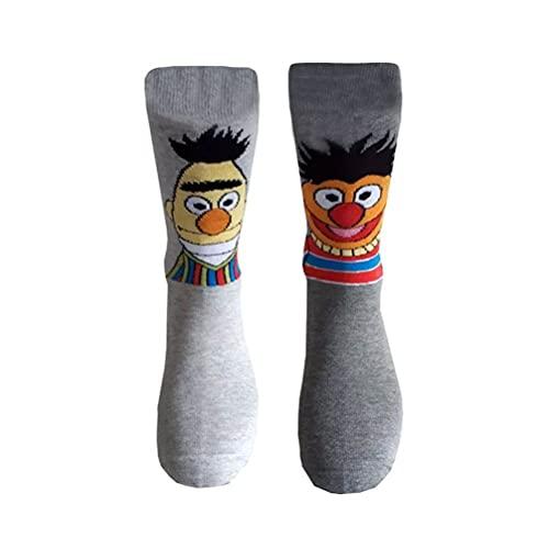 Männer Sesame Street Bert & Ernie Grau Crew Socken (2 Paar)