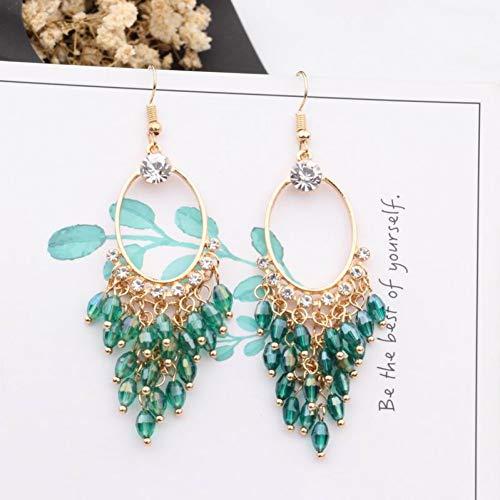JINGM Bohème À La Main Multicouche Cristal Perles Gland Boucles d'oreilles pour Les Femmes Métal Cercle Strass Longue