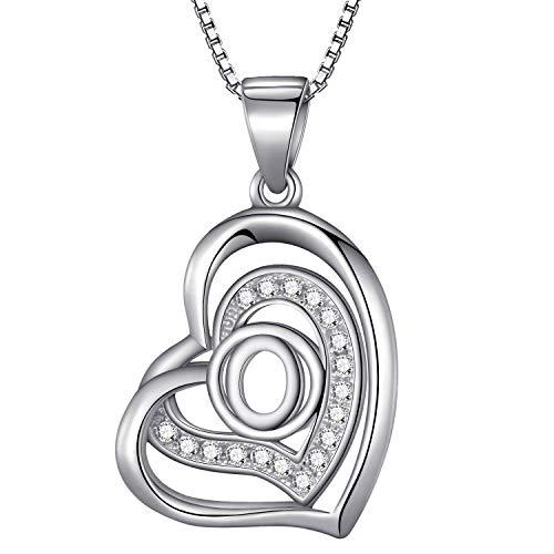 Morella® Damen Halskette Herz Buchstabe O 925 Silber rhodiniert mit Zirkoniasteinen weiß 46 cm