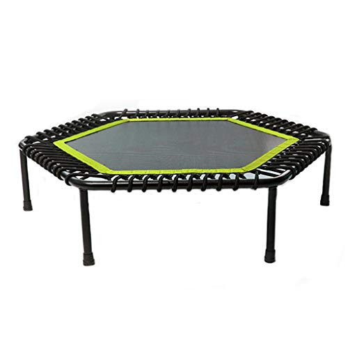44-Inch Fitness Trampoline for Adults and Kids, Mini Silent Fitness Rebounder Trampoline for Indoor Outdoor Garden Workout Cardio Training, Max Load 330 lbs (Color : Green)