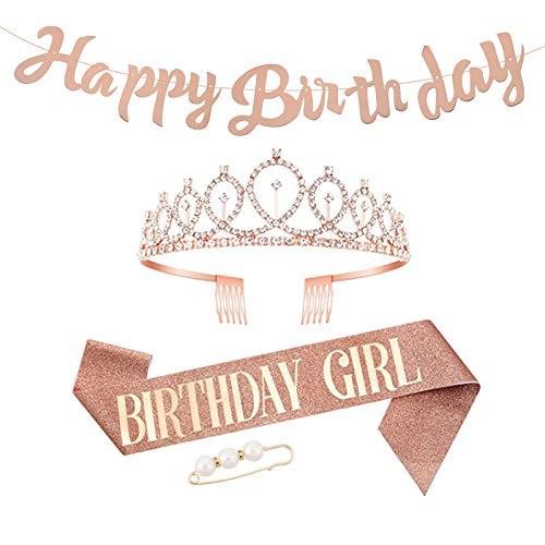 Veraing Corona di compleanno, corona di compleanno, per ragazza, con cristalli, tiara di compleanno, principessa, principessa, accessorio per feste (corona + striscione + 1 spilla per capelli + 1 ago