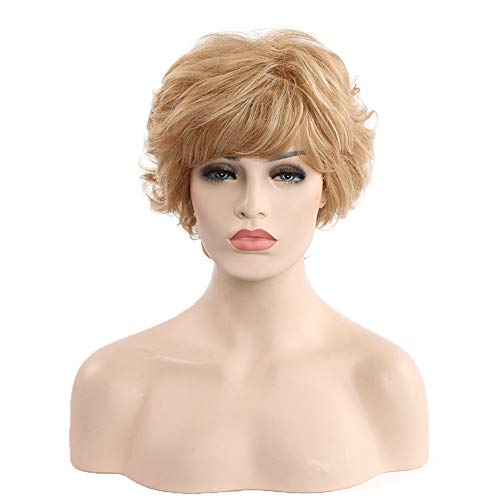 ZHENYANG Short Curly Hair Wig Female Wig Fashion Wigs Realistic Fake Small Wave Volume Wig Breathable Realistic Wig