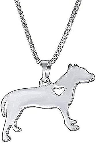 Collar Collar de Metal Collar con Colgante de Perro Mascota Mujeres Declaración Gato Familia Paseo Diseño Cadena Lindo Bulldog Hombres Collar de Cadena de Plata Joyería para Mujeres Hombr