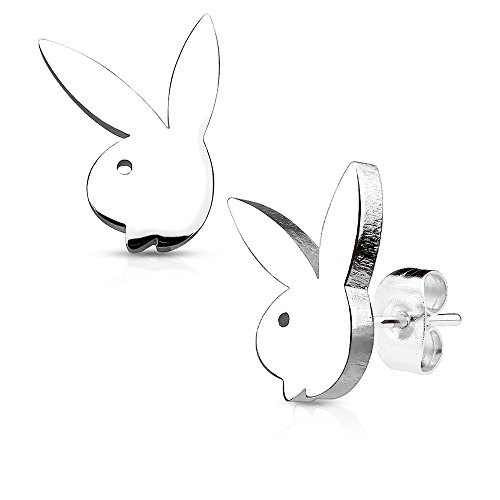 Pair of Playboy Bunny 316L Stainless Steel Earring Studs
