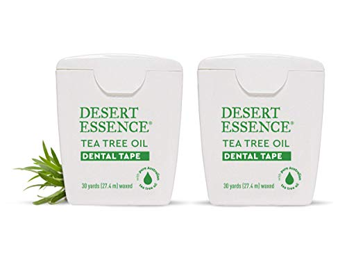 Desert Essence Tea Tree Oil Dental Tape - 30 Yards - Pack of 2 - Naturally Waxed w/Beeswax - Thick Flossing No Shred Tape - On The Go - Removes Food Debris Buildup - Cruelty-Free Antiseptic