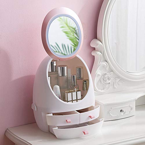 LED-licht HD-spiegel make-up tas voor kaptafel make-up organizer opbergdoos schoonheid huidverzorgingsproducten plastic bak