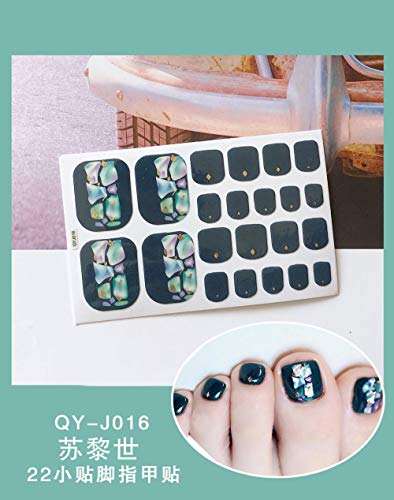 BGPOM Foot Stickers Nail Stickers Nail Stickers Fully Waterproof Lasting 3D Toenail Stickers Patch 10 Sheets/Set,Zurich (QY-J016)