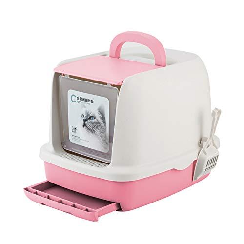 SYLTL Cat Litter Box, Cara Completa Inodoro para Gatos Cerrado, Retirable Inodoro para Gatos con Cajón Y Pala, Inodoro Y a Prueba De Salpicaduras,52 * 40 * 39cm,Rosado