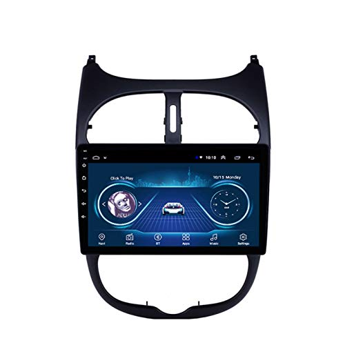Dscam Coche navegación System Android 9.1 para Peugeot 206 Cuatro nucleos 9' HD Pantalla táctil In Dash Car con GPS Sat Nav USB FM 4.0 Bluetooth WiFi USB,4G+64G-Quad-Core