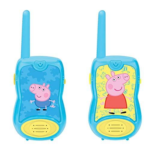 LEXIBOOK Peppa Pig Walkie-talkies, Pinza para Colgar del cinturón, batería, Azul (8597478)