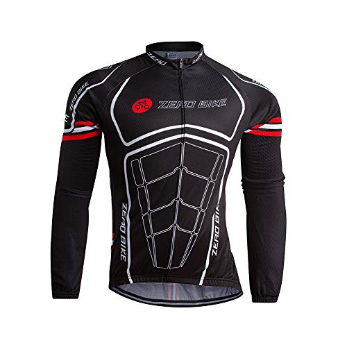 Hommes Vélo Cyclisme Respirant à séchage Rapide Maillots, Jersey Cycle Manche Longue Veste, 004, M