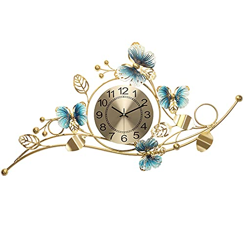 JMSTT Relojes De Pared para Decoración Sala Estar Flor Elegante Péndulo Grande Sin Tictac Cristal Silencioso Bling Art Reloj Metal Moderno Lujo Hogar Moda Creativa Dormitorio Decorativo