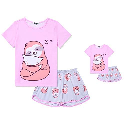 Jxstar Matching Dolls&Girls Pjs Sets Sloth Pajamas Toddler Kids Summer Pyjama Pink,3t 4t