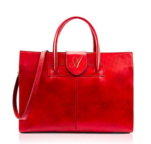 Belcraft Garda Borsa in Pelle con Tracolla da Donna, Borsa a mano, Porta documenti, Cartella, Stile ed Eleganza di un Artigianato Made in Italy (Rosso)