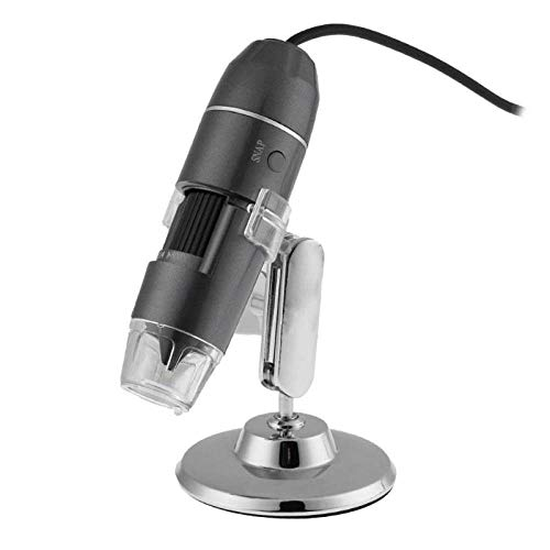 YOUZHA 800X 8LED Lupa de mano Cámara Microscopio electrónico digital Microscopio USB Endoscopio Zoom Cámara Lupa Soporte-Negro