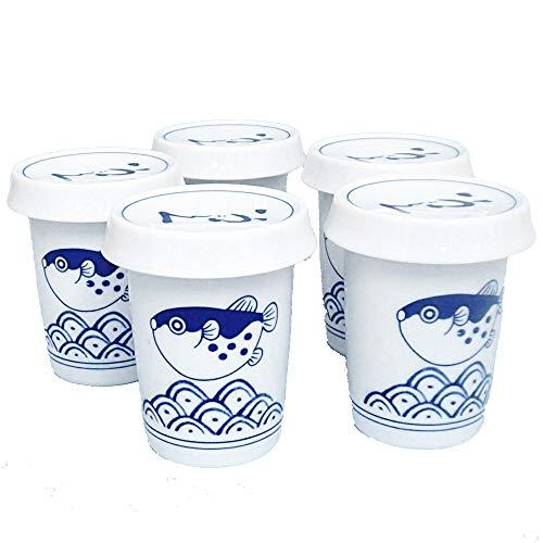 ヒレ酒カップ 波ふぐ 5個セット ひれ酒 酒器 業務用 美濃焼