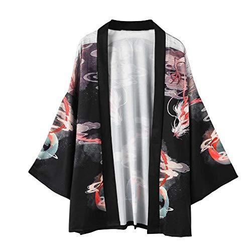 Hombre Camisa Kimono Hippie Cloak Estilo Japonés Estampado Holgado Manga 3/4 Cardigan Chaqueta Capa Ropa Casual Abrigo Básico Camisetas Cuello Mao Vintage Blusa T-Shirt Top Gusspower