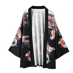 Hombre Camisa Kimono Hippie Cloak Estilo Japonés Estampado Holgado Manga 3/4 Cardigan Chaqueta Capa Ropa Casual Abrigo… | DeHippies.com