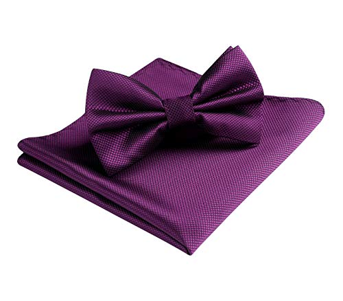 HISDERN Purple Solid Bow Tie for Men Classic Formal Pre-Tied BowTie and Pocket Square Set for Wedding Party
