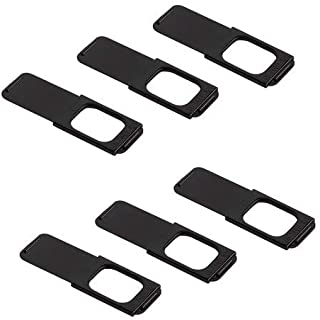 "C-Slide Webcam Cover 6 Pack - Thin Sliding Laptop Cam Blocker, Black, 1.5"" x 0.5"" and 1.5mm Thick - Thin Cam Slide Blocker for Computer, Tablet, Dell, Lenovo, HP, Echo Show, iPad, Chromebook"