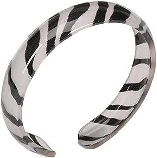 Metallic Silver Zebra Print Resin Bangle