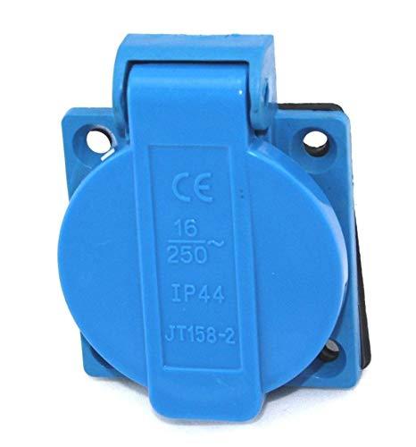 Einbausteckdose Deckel Spritzwasser Geschützt Blau 230 Volt
