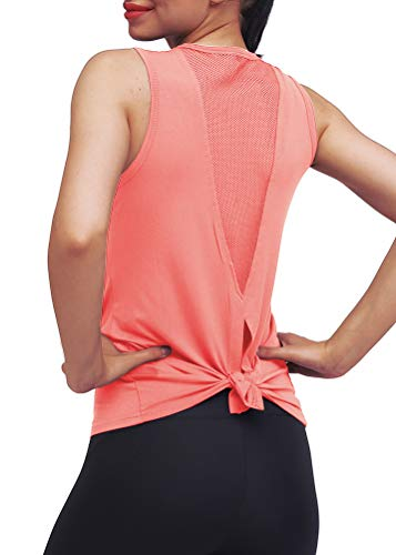 Mippo Workout Tops for Women Yoga Tops Tie Back Workout Tennis Hiking Yoga Shirts Athletic Exercise Racerback Tank Tops Loose Fit Muscle Tank Exercise Gym Running Tops for Women Peach Red L
