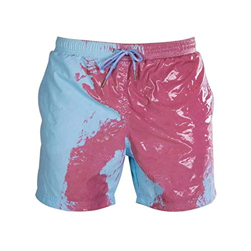 Summer Men's Swimming Shorts Temperature-Sensitive Color-Changing Beach Pants Swim Trunks Shorts Color Changing Swimwear,Child Blue 1,S