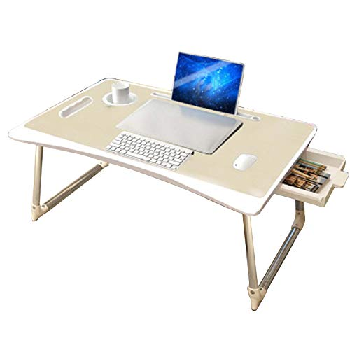 WUNIA Foldable Laptop Desk, Aluminum Alloy Folding Bed Table, 654530cm Writing, Study, Eating Storage, Reading Stand,Oak